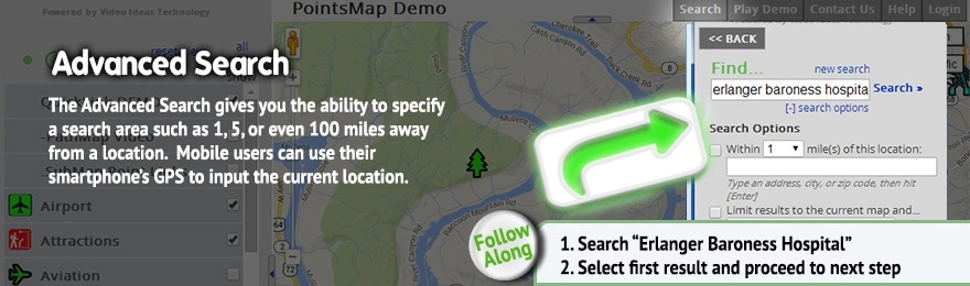 How to use points map menus, navigate, PointsMap, Features, map, wayfinding
