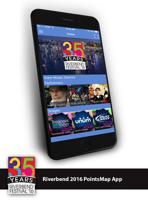 Riverbend 35 years is now using pointsmap for Cell Phones, navigation, maps, wayfinding.