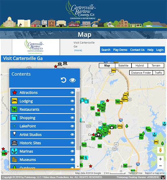 Look at the Cartersville-Bartow Mobile PointsMap App as shown on thier website.