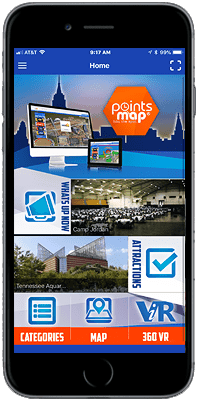 Cell Phone, navigate with the top new spots, PointsMap, Features, map, wayfinding