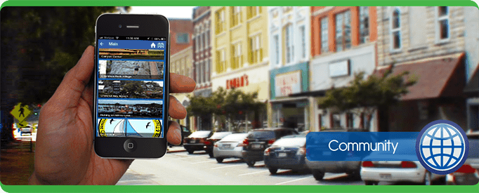 community Tablet Cell Phone, navigate, PointsMap, Features, map, internal wayfinding