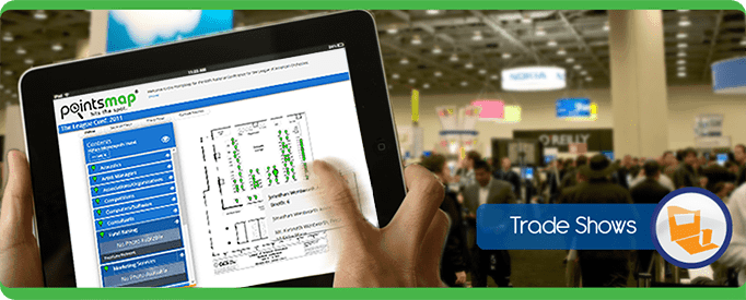 Tradeshow Tablet Cell Phone, navigate, PointsMap, Features, map, wayfinding