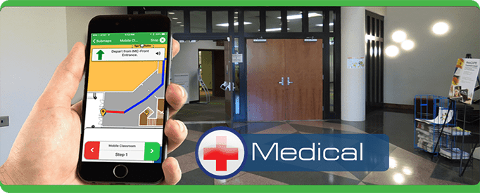 medical Tablet Cell Phone, navigate, PointsMap, Features, map, internal wayfinding hospital